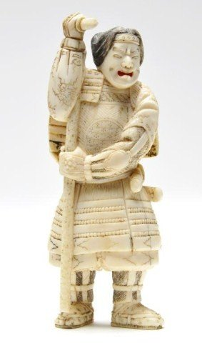 108: Japanese ivory carving of a Japanese Warrior