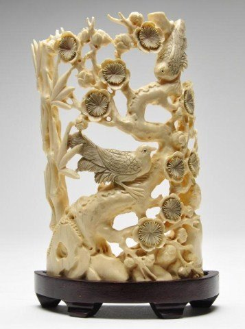 109: Chinese ivory carving featuring birds and branches