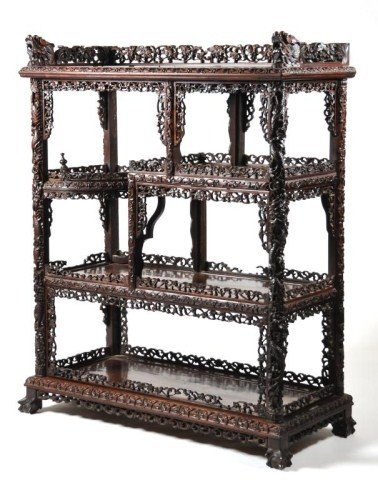 110: Carved Chinese Late Qing Dynasty 19th c. etagere