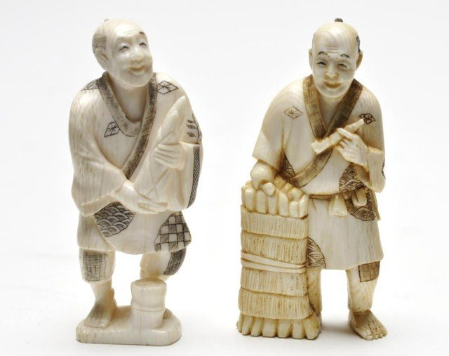 112: Two Japanese ivory carvings of men