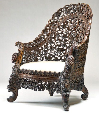 120: Wonderfully pierced carved Asian barrel form chair