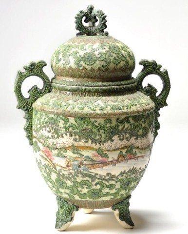 193: Large footed Japanese Satsuma covered urn