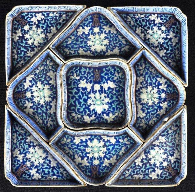 332: Chinese nine-piece enameled porcelain condiment se