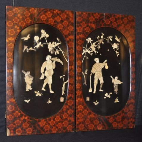 29A: Pair of Chinese panels with raised ivory