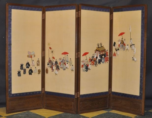 105A: Japanese four panel screen with embroidered panel