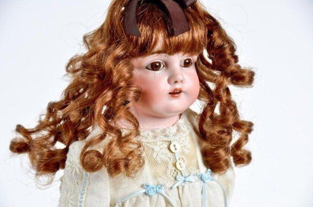 "3: 15"" Bisque shoulder head German doll, incised ""5"""