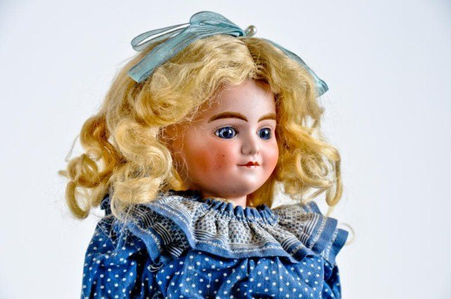 "4: 15"" Bisque socket head doll, unmarked,"