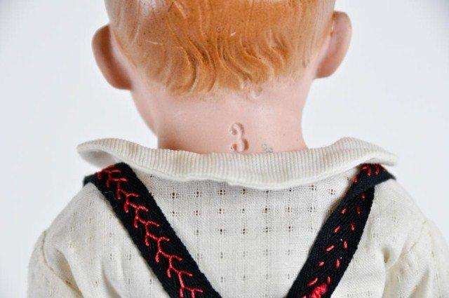 "5: 15"" Bisque Shoulder head boy doll, incised ""3"" - 3"