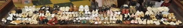 122 Pairs Victorian and newer doll shoes,