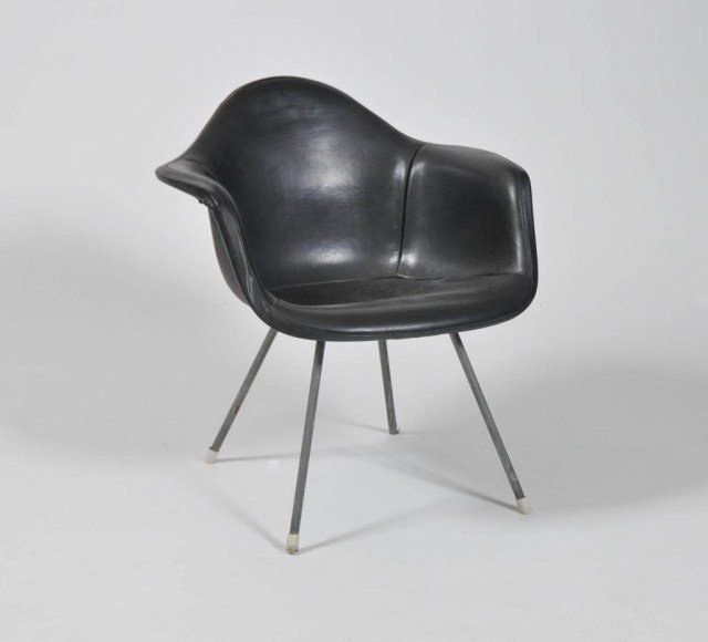 3: Mid century shaped fiber glass chair with leather