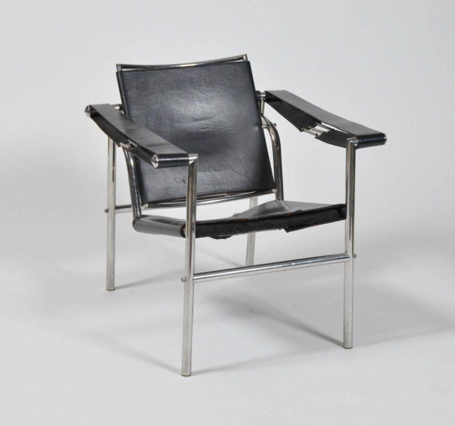 5: Mid century chrome and leather arm chair