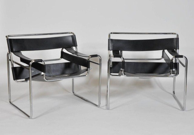 6: Pair of Mid Century Chrome and leather wassily chair