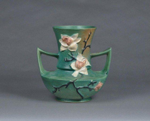 """7: Roseville """"Magnolia"""" two handled art pottery vase"""