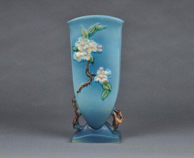 """8: Roseville """"Apple Blossom"""" art pottery vase"""