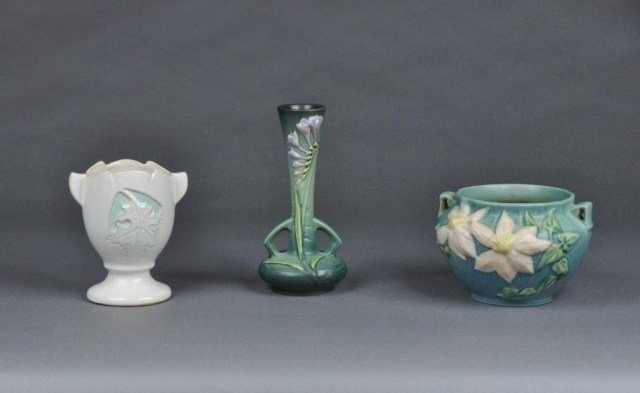 9: Three pieces of miscellaneous Roseville pottery
