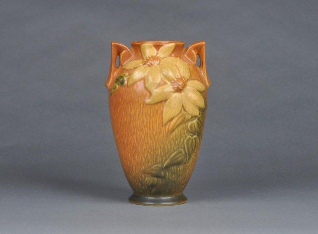 """12: Roseville """"Clematis"""" two handled art pottery vase"""