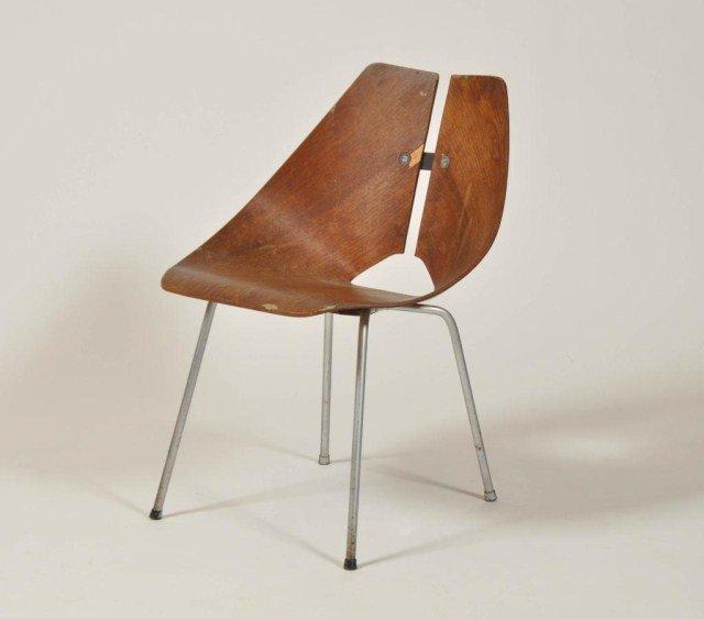 14: Mid Century laminated split back side chair