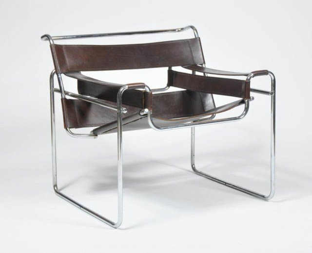 17: Mid century chrome and leather Wassily style