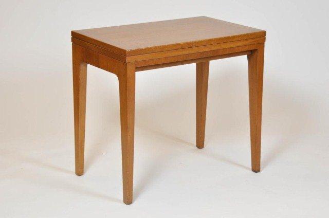 20: Mid century card table stamped Dunbar on underside