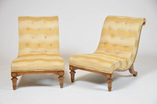 21: Pair of custom upholstered rolled back chairs