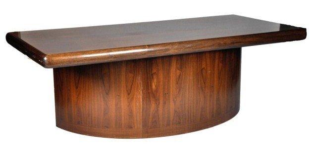 49: Dyrlund rosewood desk with three slide out drawers