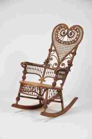 Victorian fancy period wicker rocking chair