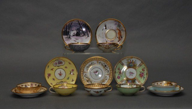 326: Set of seven Dresden cups and saucers with various