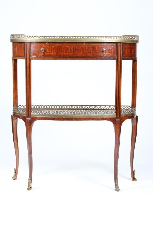 French Inlaid Console Table
