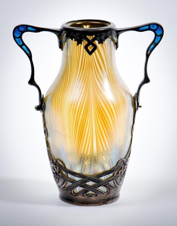 Loetz Vase Plique a jour Silver Mounts