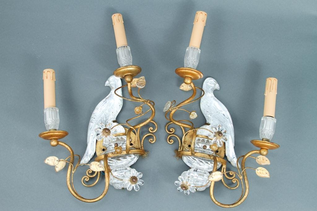 Pair of Crystal Bird Wall Sconce