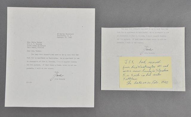 9: 1942-Feb, John F. Kennedy,  Signed Letter