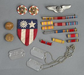 14: 1943-Dave Powers WWII Dog Tags Ribbons Pins