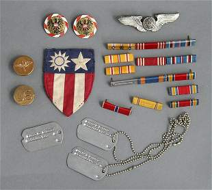 1943-Dave Powers WWII Dog Tags Ribbons Pins