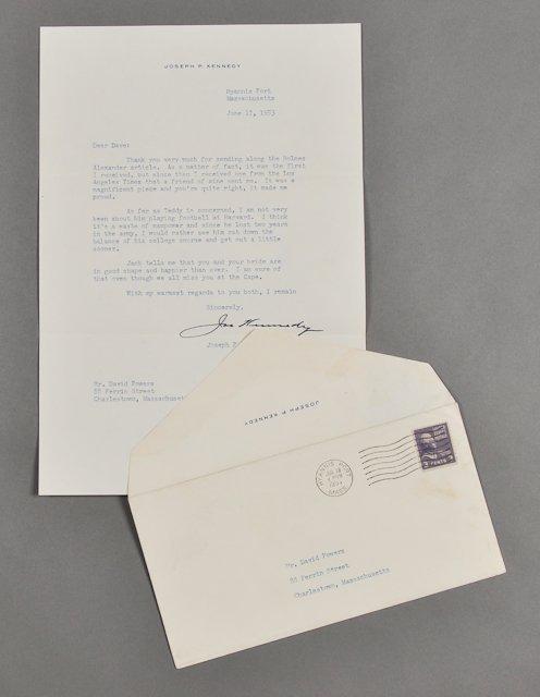 56: 1953-Joe P. Kennedy, Sr. Signed Letter (Rare)