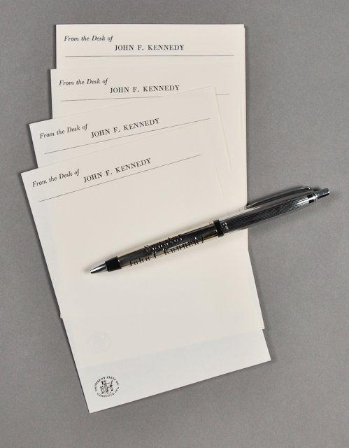 71: 1954-Sen. J.F.K. Sterling Pen w/ Memo Paper