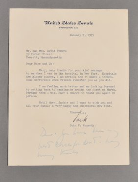 1955-Jan, J.F.K. Signed Letter, Health Issues