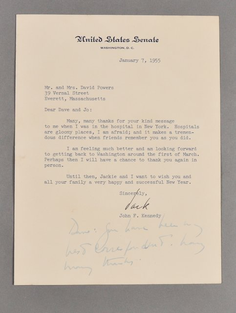 73: 1955-Jan, J.F.K. Signed Letter, Health Issues