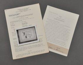 1956-Aug, Stevenson Signature/ J.F.K. Address
