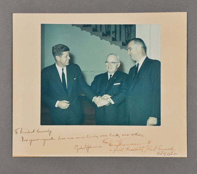 289: 1962-Feb 19, Harry S. Truman & LBJ, Signed Photo