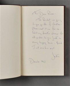503: 1963-Dec, Jackie, Signed Presidential Book