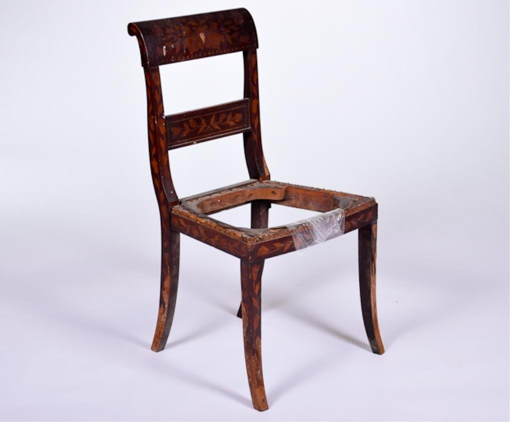 19th C Inlaid Side Chair