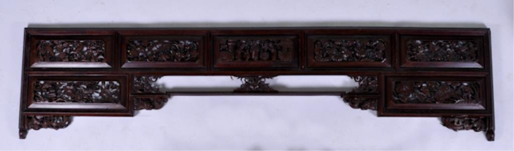 Wide Carved Asian Fretwork Panel