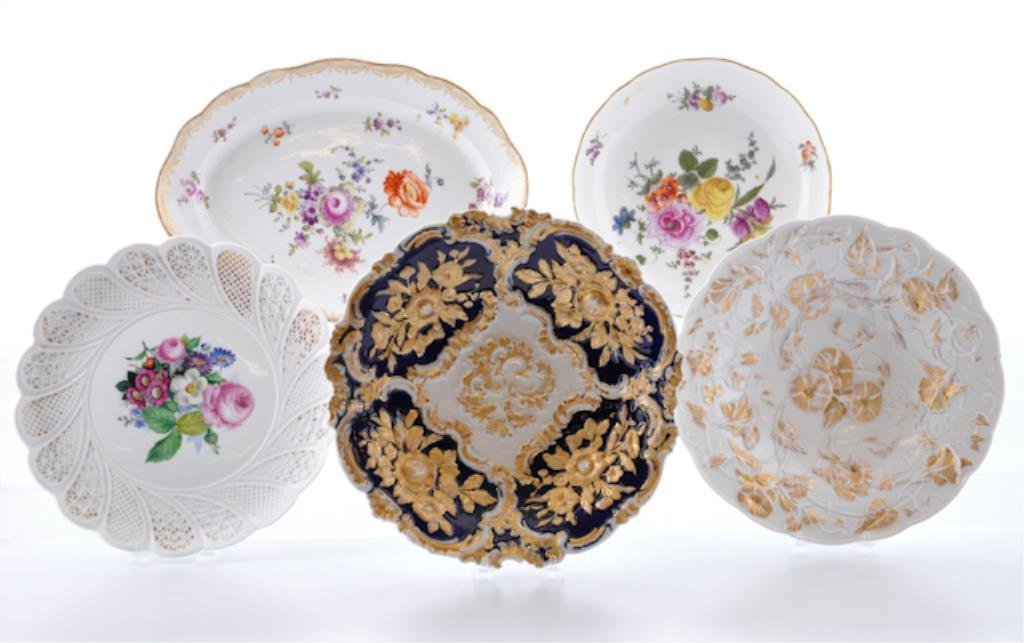 Group of (5) Meissen Plates