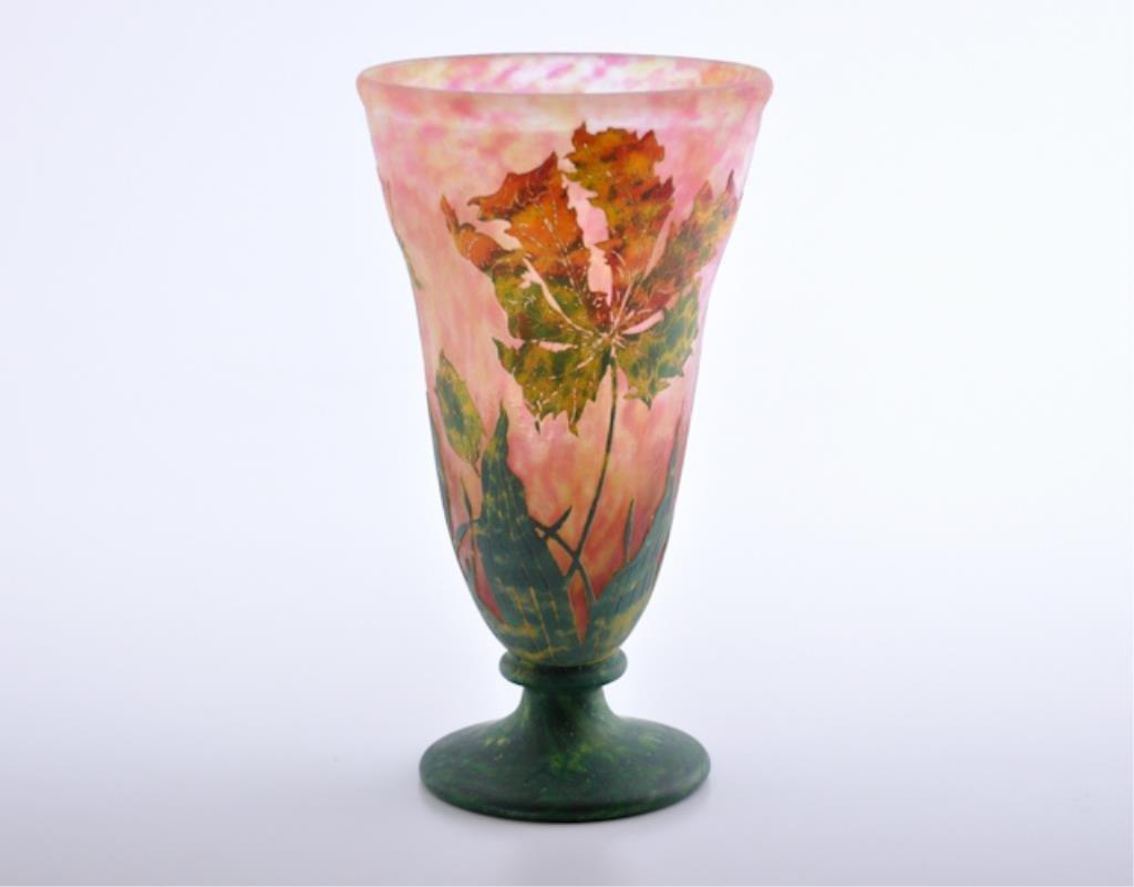 Daum Nancy Cameo Glass Footed Vase