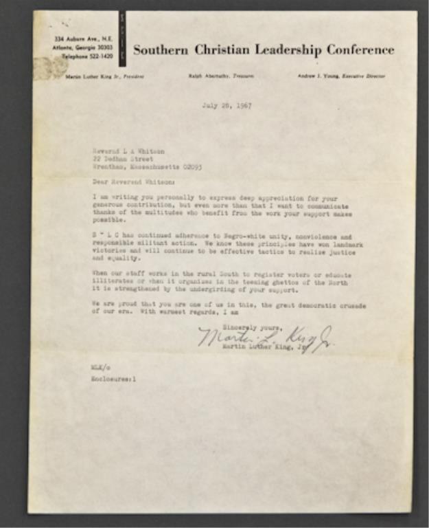 Martin Luther King, Jr. Signed Letter