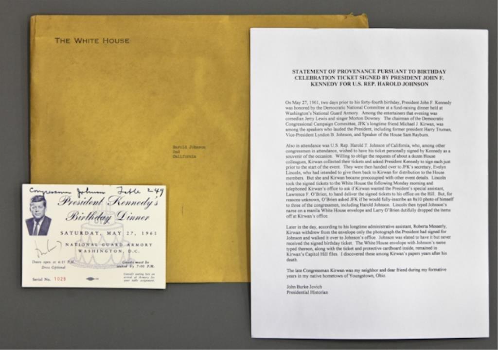 John F. Kennedy Signed 1961 Birthday Dinner Ticket