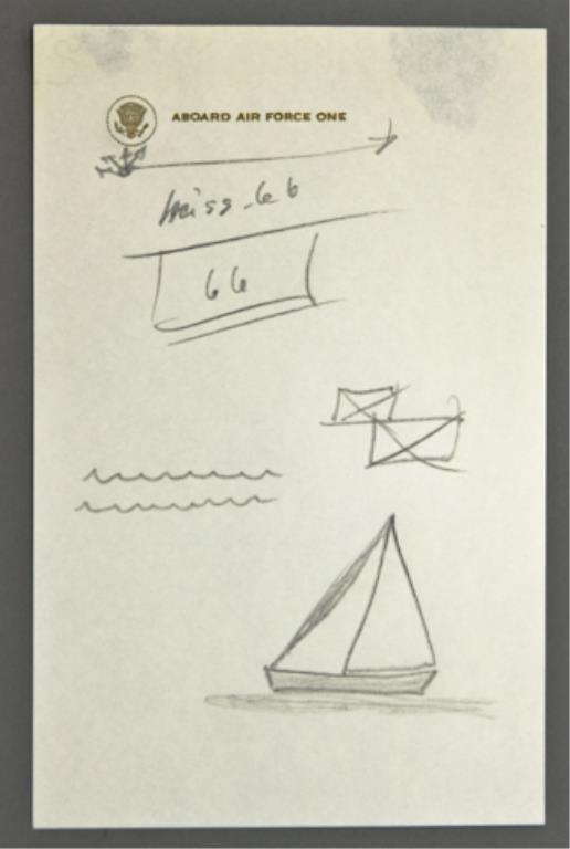 """Aboard Air Force One"" John F. Kennedy Doodle Sket"