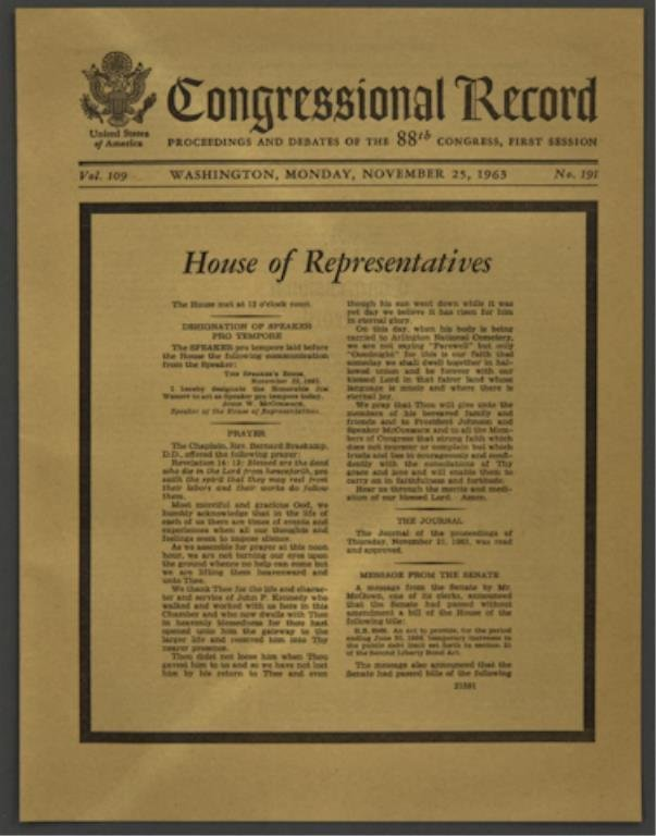 Congressional Record with Mourning Border