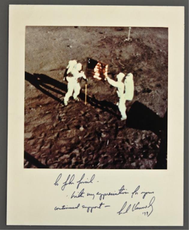 Ted Kennedy Signed Apollo 11 Photograph