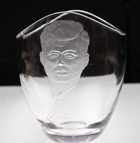 Steuben Vase etched with John F. Kennedy's Profile